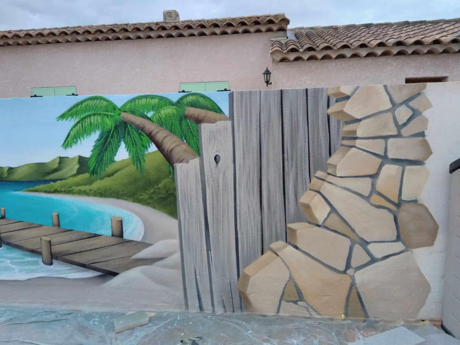 Fresque bord de piscine